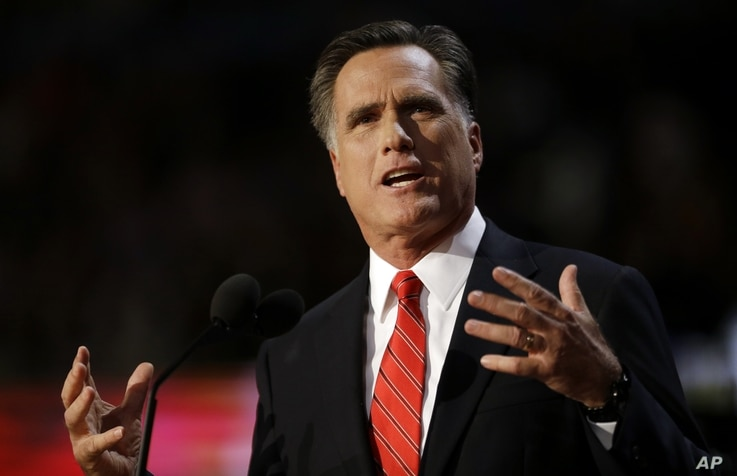 Republican presidential candidate Mitt Romney speaks at the Republican National Convention in Tampa, Florida, August 30, 2012.