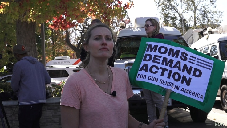 Grace Fisher is a mom who is fearful for her three children. She said something needs to change with regard to gun regulations. She lives in a neighborhood near Thousand Oaks, site of the most recent U.S. mass shooting. (E. Lee/VOA)