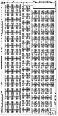 "This is an actual floor plan of an office cubicle layout in a really large, open office. One wonders whether ""pink noise"" would be enough to stifle distracting sounds in such a setting. (Newell Post, Wikipedia Commons)"