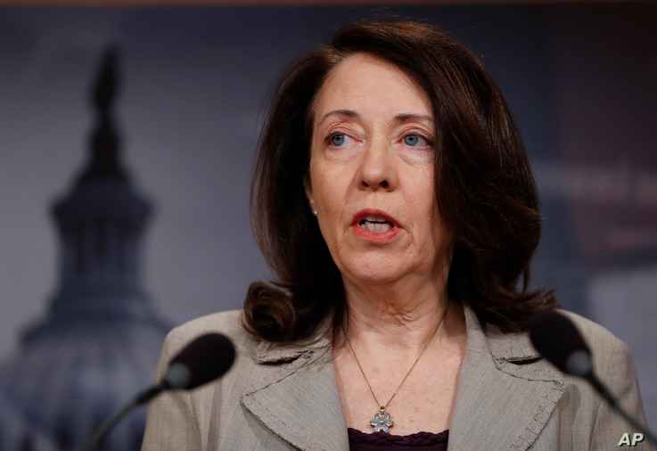 FILE - Sen. Maria Cantwell, D-Wash., speaks during a news conference on Capitol Hill in Washington, May 24, 2017.