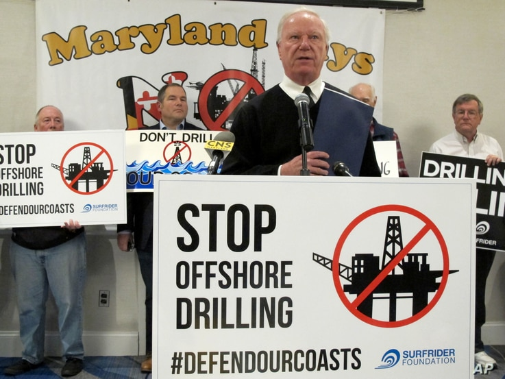 Ocean City Mayor Rick Meehan speaks out against allowing offshore drilling off Maryland's coast before an open house on the proposal, Jan. 16, 2018, in Annapolis, Md.