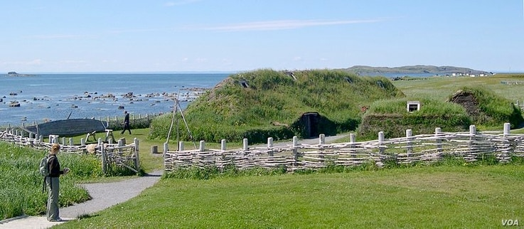 A reconstruction of the viking settlement in Newfoundland.