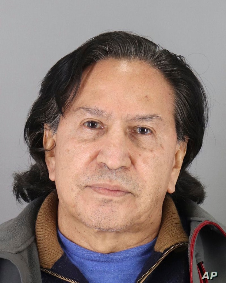 Alejandro Toledo is seen in this photo released, March 18, 2019, by the San Mateo County Sheriff's Office.