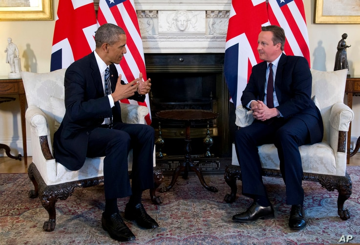 President Obama meets with British Prime Minister David Cameron at Cameron's official residence, in London, April 22, 2016.