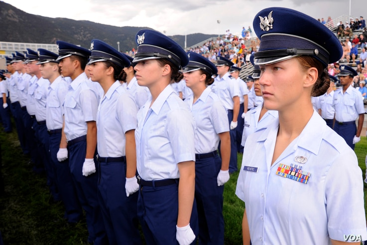 Cadet 4th Class Chelsea Renfro stands at attention during the Class of 2014 Acceptance Day ceremony at the Air Force Academy Aug. 4, 2010.  (U.S. Air Force photo/Mike Kaplan)