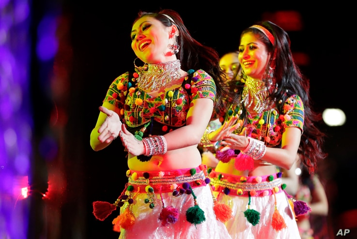 Bollywood dancers perform during a charity event hosted by the Republican Hindu Coalition, Oct. 15, 2016, in Edison, New Jersey. Republican presidential candidate Donald Trump spoke during the event.