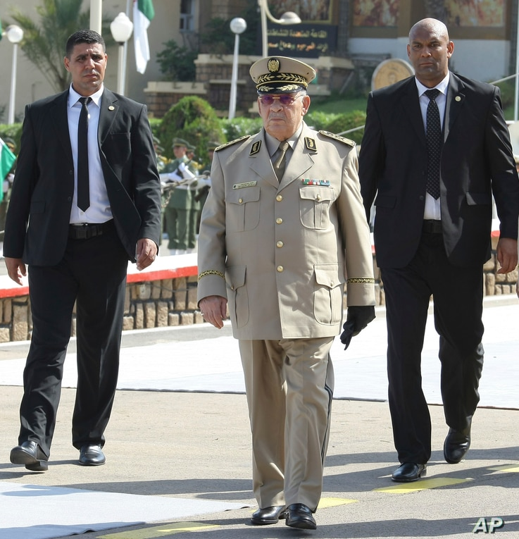 Algerian chief of staff Gen. Ahmed Gaid Salah arrives to preside over a military parade in Algiers, July 1, 2018.