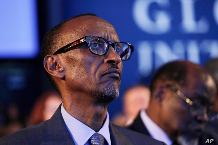 Rwandan President Paul Kagame attends session at the Clinton Global Initiative, New York, Sept. 22, 2014.