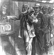 Harper's Weekly magazine imagined black men lining up to vote in this 1867 engraving by Alfred R. Waud. Two years later, the 15th Amendment granted that right. (Library of Congress)
