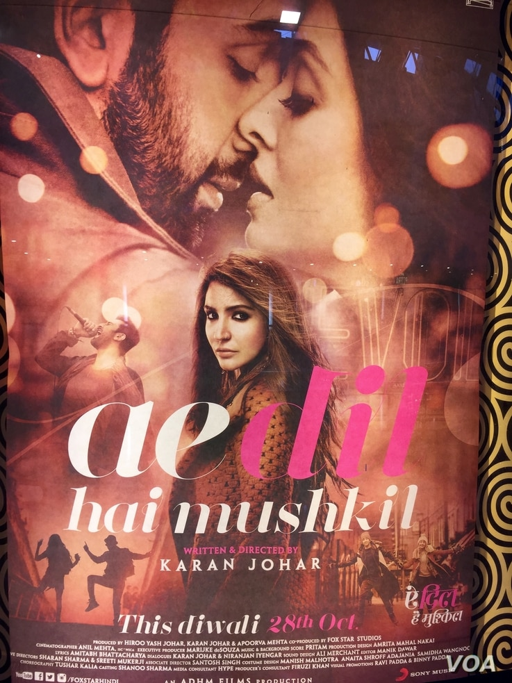 "A Hindu hardline group agreed not to disrupt the Hindi movie ""Ae Dil Hai Mushkil"" due to release this Friday after Bollywood said it will not use Pakistani artists in future.   (A. Pasricha/VOA)"