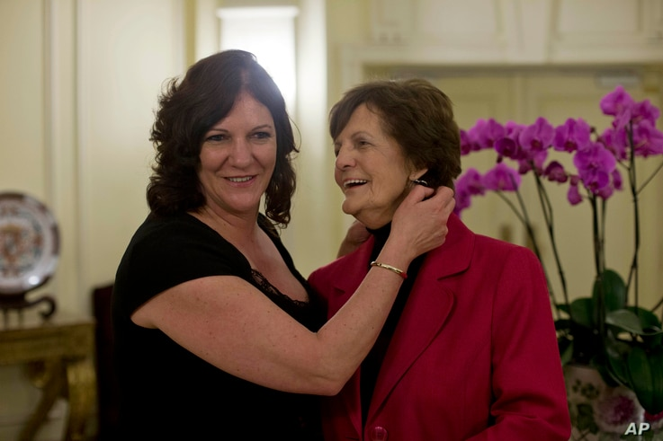 Philomena Lee, right, and her daughter Jane Libberton in Rome on Feb. 6, 2014, a day after meeting with Pope Francis.