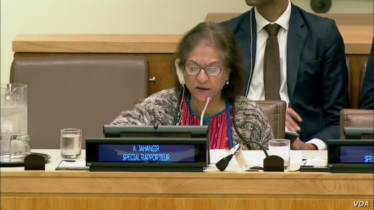 Special Rapporteur Asma Jahangir delivers her report on the human rights situation in Iran. New York, Oct. 25, 2017. (UN webcast)