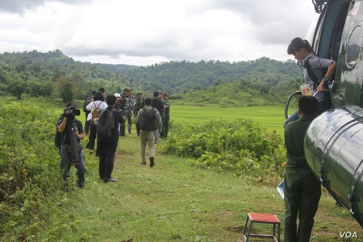 Myanmar Air force Helicopter brought Journalists to mass grave sites near Yebawkya village, Kamaungseik Township in Maungdaw District, Northern Rakhine State, Sept. 27, 2017. (Moe Zaw and Sithu Naing/VOA Burmese)