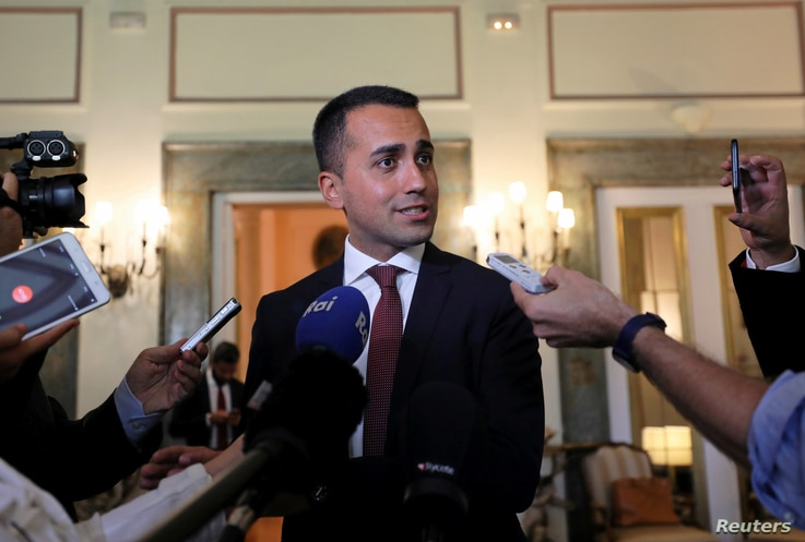 FILE PHOTO: Italian Deputy PM Luigi Di Maio speaking during a news conference in Cairo,  Aug. 29, 2018.