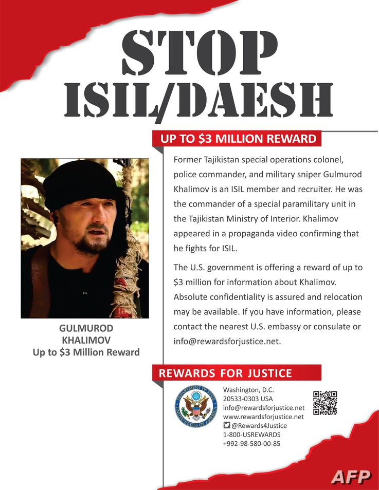This poster obtained August 30, 2016, from the U.S. State Department shows Gulmorod Khalimov. The United States on August 30 slapped a $3 million USD bounty on a former Tajik special operations commander who received American training but later defec