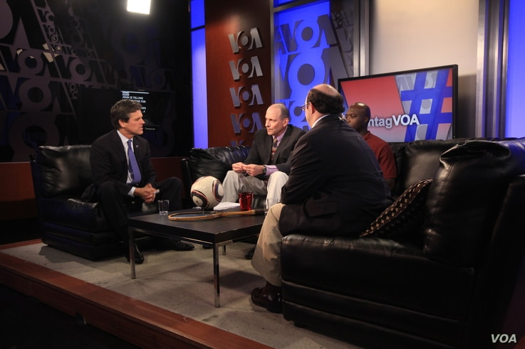 From left: Special Olympics Chairman Tim Shriver, VOA host Sonny Young, Special Olympian Kestor Edwards, and Shriver Global Messenger David Egan discuss 2015 Special Olympics World Summer Games , which kick off in Los Angeles on July 25.