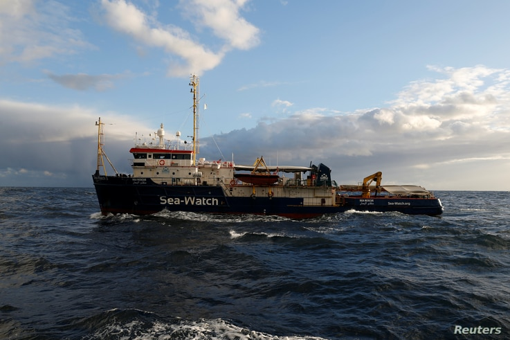The migrant search and rescue ship Sea-Watch 3, operated by German NGO Sea-Watch, is seen off the coast of Malta in the central Mediterranean Sea, Jan. 3, 2019.