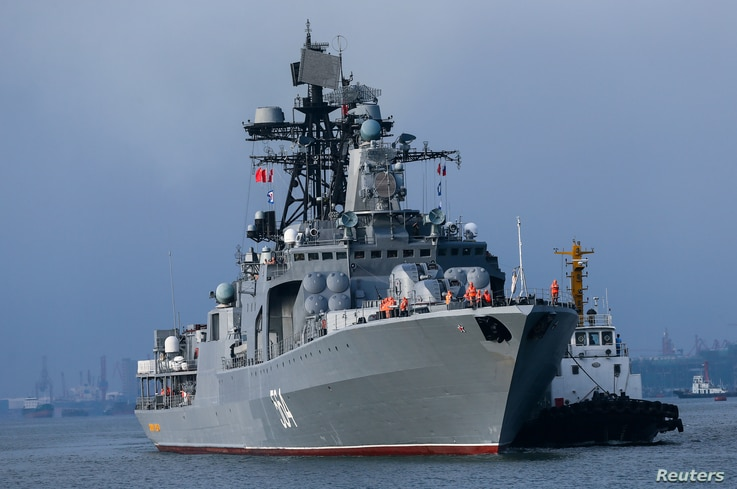 Russian ships are seen during a China-Russia naval drill at the port in Zhanjiang, Guangdong province, China, Sept. 12, 2016.