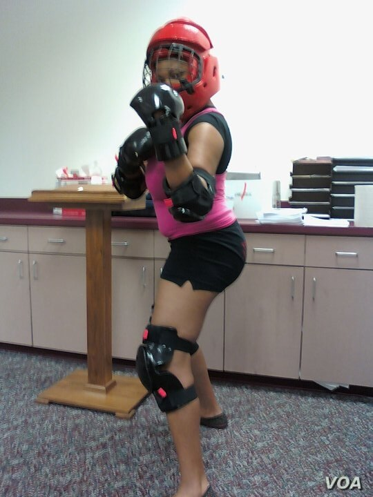 Participants in a certified Rape, Defense and Aggression (R.A.D) course wear protective gear like this when they practice repelling an assault.