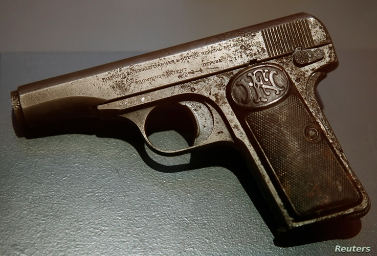 DATE IMPORTED:June 27, 2014A pistol used during the assassination of Archduke Franz Ferdinand of Austria on June 28, 1914 in Sarajevo, is pictured on display at the museum of military history in Vienna on June 27, 2014.