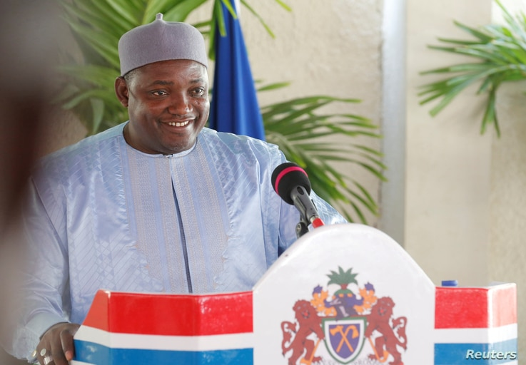 FILE - Gambia's President Adama Barrow is seen during a news conference in his residence in Banjul, Gambia, Jan. 28, 2017.
