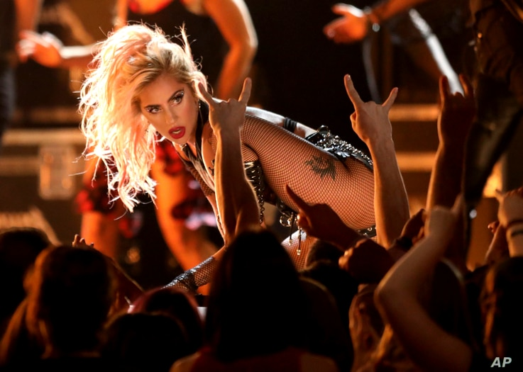 """Lady Gaga performs """"Moth Into Flame"""" at the 59th annual Grammy Awards on Feb. 12, 2017, in Los Angeles."""