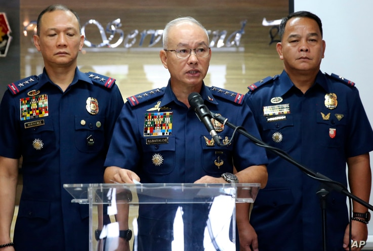 Oscar Albayalde, chief of the Philippine National Police, speaks at a news conference at Camp Crame, in suburban Quezon city, northeast of Manila, Philippines, Feb. 4, 2019.