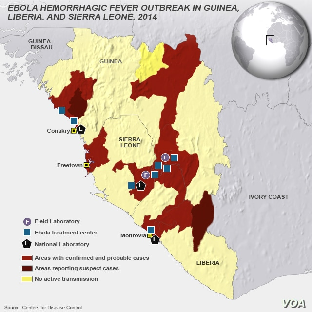 CDC map of east Africa, areas with confirmed and probable cases of Ebola