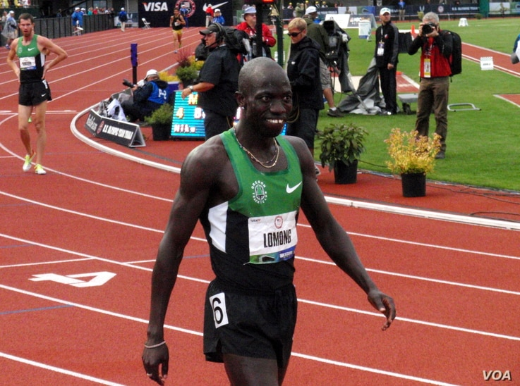 Lopez Lomong finished third in the 5,000 meter race at the 2012 US Olympic Trials in Eugene, Oregon last month. (T. Banse/VOA)