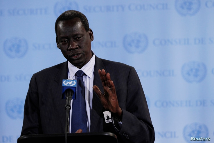 FILE - Deng Alor, South Sudanese minister of foreign affairs, speaks to reporters at U.N. headquarters in New York, May 2, 2012.