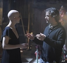 """DELPHINE CHANEAC as Dren and director VINCENZO NATALI on the set of Warner Bros. Pictures' and Dark Castle Entertainment's science fiction thriller """"SPLICE,"""" a Warner Bros. Pictures release."""