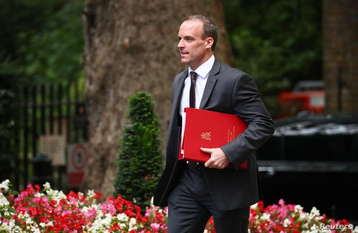 Britain's Secretary of State for Exiting the European Union Dominic Raab arrives in Downing Street, London, Sept. 4, 2018.
