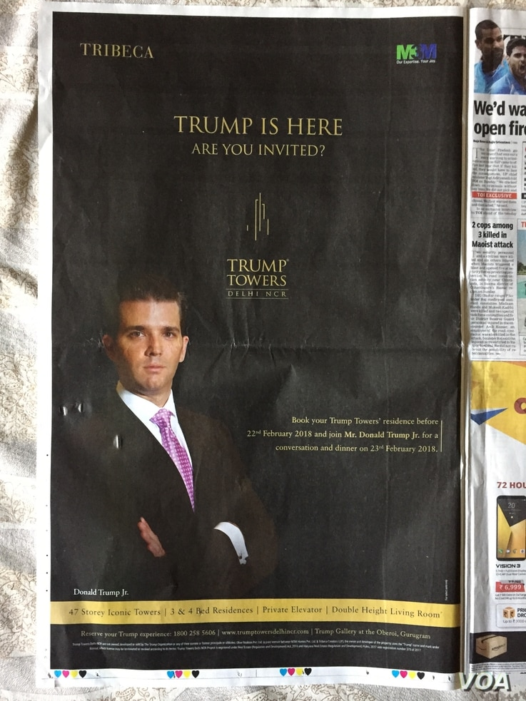 The newspaper advertisements prominently displayed photos of Donald Trump Jr. who will be visiting Trump projects in India.