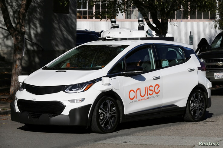 FILE PHOTO: A self-driving GM Bolt EV is seen during a media event where Cruise, GM's autonomous car unit, showed off its self-driving cars in San Francisco, California, Nov. 28, 2017.
