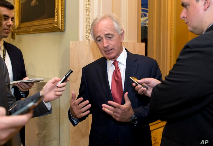 Senate Foreign Relations Committee Chairman Sen. Bob Corker, R-Tenn., talks with reporters on Capitol Hill in Washington, Oct. 20, 2015.