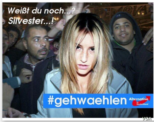 Falsified photograph posted on social media sites showing a blonde-haired woman surrounded by Middle Eastern-looking men used to agitate grassroots followers of far-right populist party Alternative for Germany.