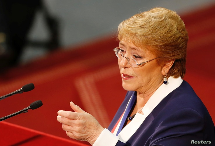 Chile's President Michelle Bachelet delivers the last speech of her presidential mandate to the nation at the national congress building ahead of the next presidential election, in Valparaiso, June 1, 2017.