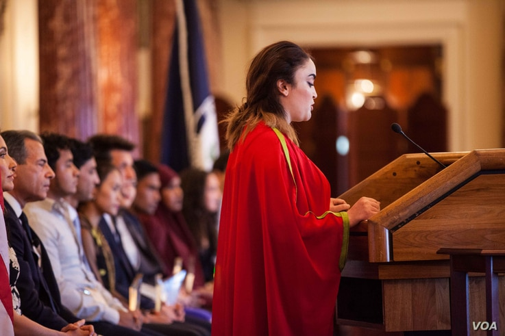Ahlem Nasraoui of Tunisia speak during the Emerging Young Leaders Ceremony at the U.S. Department of State, April 20, 2016.