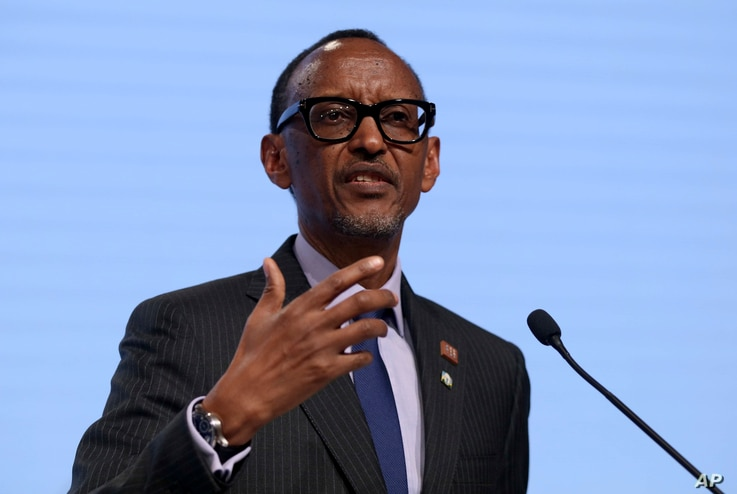 FILE - Rwanda's President Paul Kagame addresses the media during a press conference.
