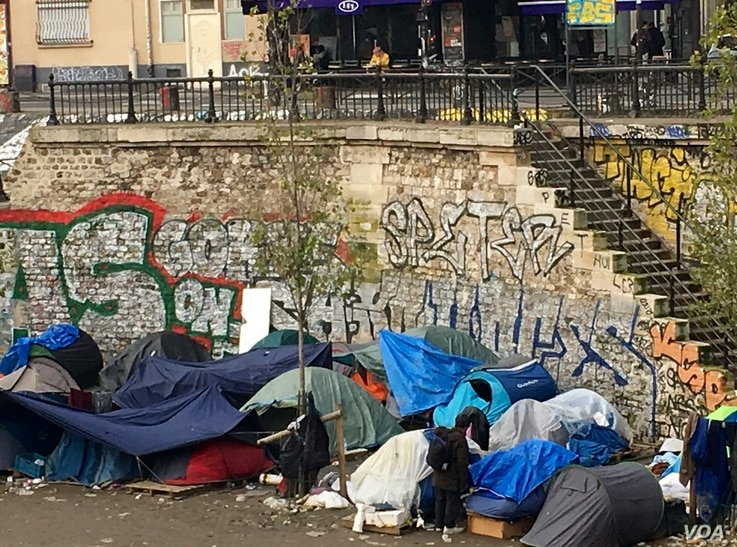 A migrant squatter camp in northeastern Paris. Periodically, police across the city raze these camps, but they invariably pop back up in other locations.