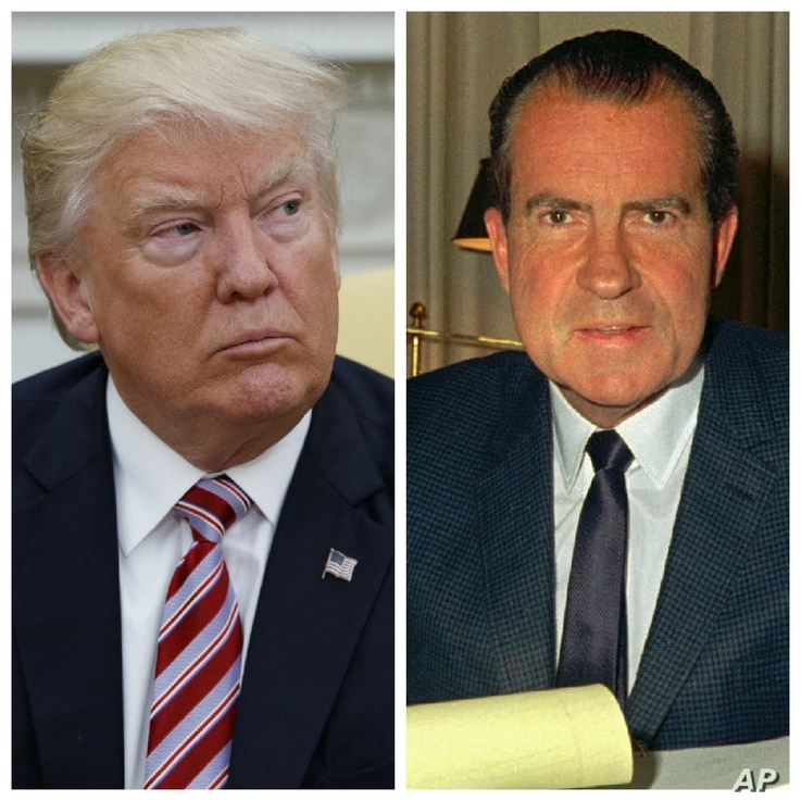 This combination photo shows President Donald Trump (left) talks to reporters in the Oval Office of the White House, May 10, 2017, in Washington, and President Richard M. Nixon, at his desk in the White House, Feb. 16, 1969.