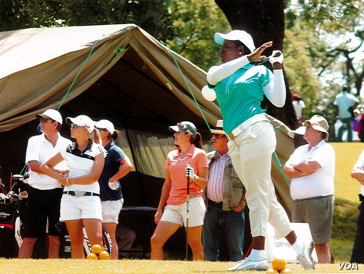 Uloma Mbuko playing at the 2014 Zambia Women Open at the Ndola Golf Club. Mbuko has played golf for 17 years, becoming Nigeria's premier female golfer after winning more than 200 awards. (Courtesy Uloma Mbuko)