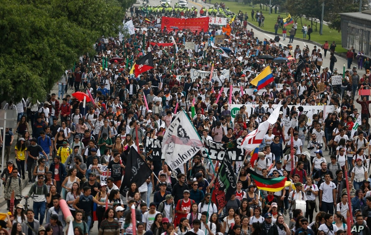 University students march during a protest asking for a hike in the budget for public higher education, in Bogota, Colombia, Nov. 15, 2018.