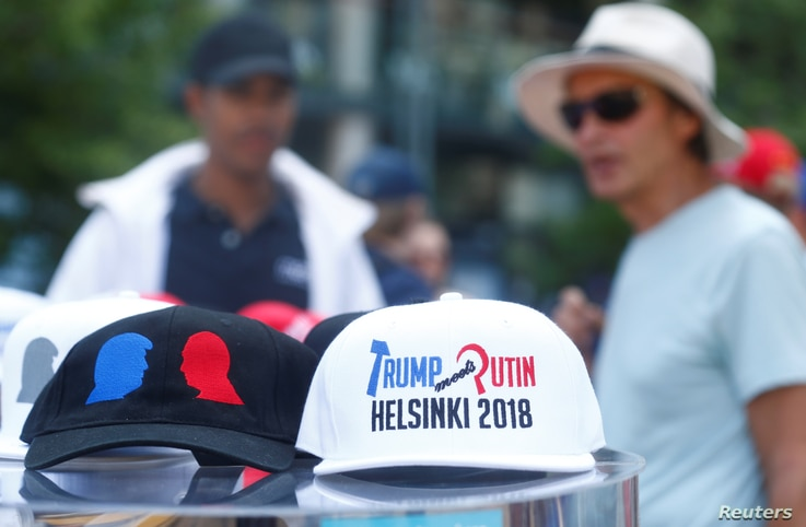 Commemorative caps are displayed during Donald Trump's supporters' demonstration ahead of meeting between the U.S. President Donald Trump and Russian President Vladimir Putin in Helsinki, Finland, July 15, 2018.