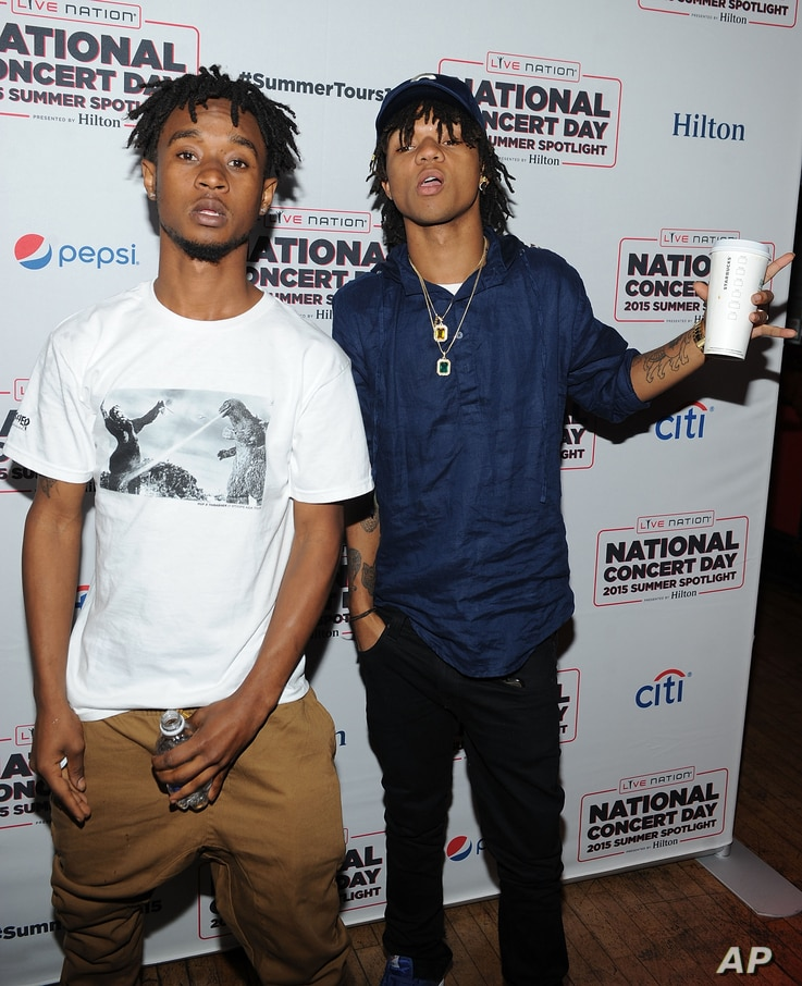 Aaquil 'Slim Jimmy' Brown (L) and Khalif 'Swae Lee' Brown of Rae Sremmurd  attend the National Concert Day  at Irving Plaza in New York.