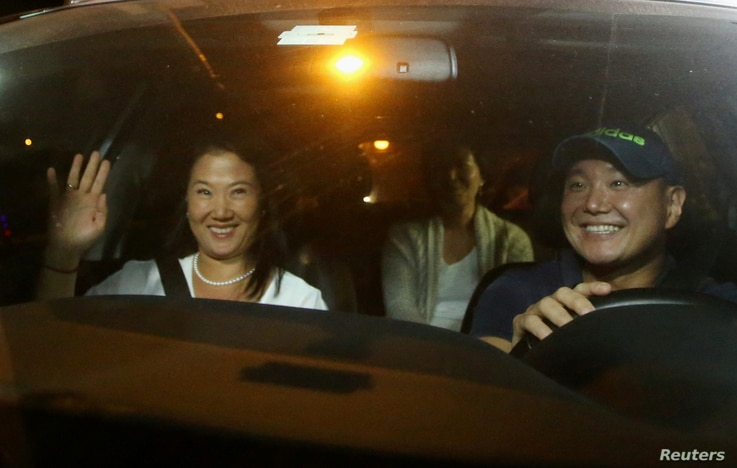 Keiko, Sachi and Hiro Fujimori, daughters and son of former President Alberto Fujimori arrive to visit their father after Peruvian President Pedro Pablo Kuczynski pardoned him, at Centenario hospital in Lima, Peru, Dec. 24, 2017. The elder Fujimori w...