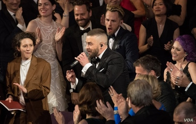 Oscar® Nominee, Justin Timberlake, performs at The 89th Oscars® at the Dolby® Theatre in Hollywood, CA on Feb. 26, 2017.