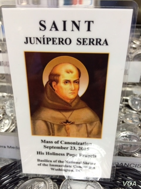 A holy card for Junipero Serra, the Franciscan friar who is being canonized by Pope Francis at the Basilica of the Immaculate Conception in Washington, Sept. 23, 2015.