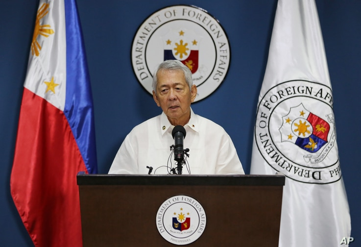 FILE - Philippine Foreign Affairs Secretary Perfecto Yasay Jr. issues a statement on the recent ruling in a long-running dispute between the Philippines and China over the South China Sea during a press conference in suburban Pasay, south of Manila,