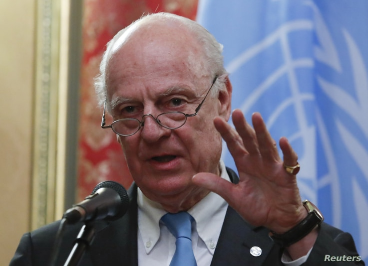 U.N. Syria envoy Staffan de Mistura speaks during a joint news conference with Russian Foreign Minister Sergei Lavrov following their meeting in Moscow, Russia April 20, 2018.